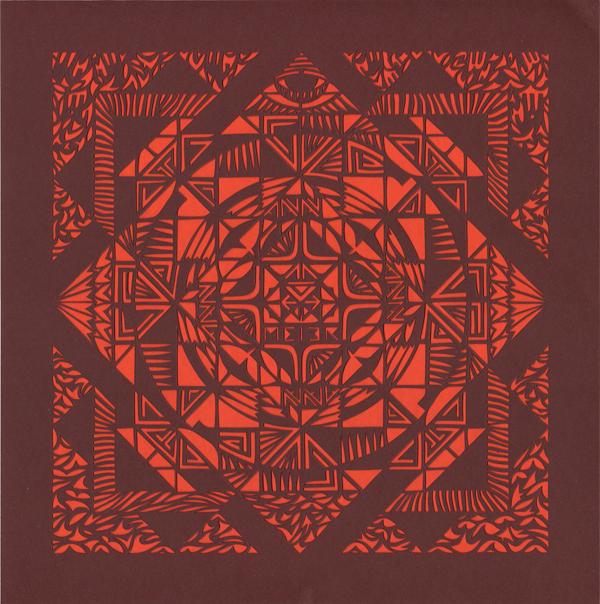 Papercutting, Burgundy & red paper